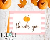 Pumpkin baby shower THANK YOU on instant download - Pumpkin baby shower thank you card birthday party Printable Instant download