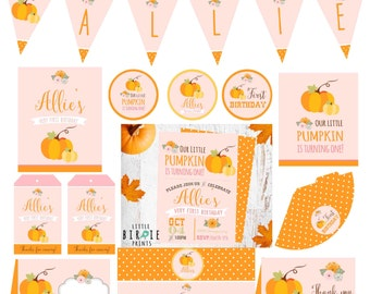 PUMPKIN FIRST BIRTHDAY Invitation and Printables Pack Our little pumpkin is turning One Invitation Vintage Pink Pumpkin Flowers Banner Fall