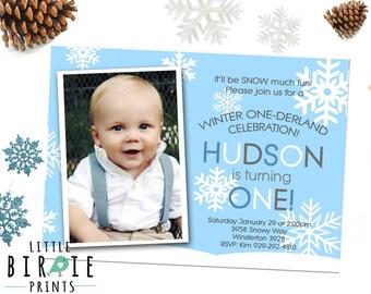 WINTER ONEDERLAND Invitation - Boy Winter Onederland Invitation - Snowflake First Birthday Invitation - Blue Winter Onederland Invitation