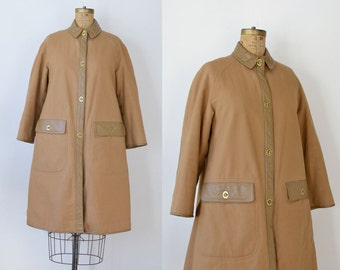 1960s Bonnie Cashin Coat / 60s Mod Coat With Leather Trim