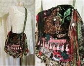 Bohemian Gypsy Purse, handmade fabric bag, fabric shoulder bag, hippie boho bag, earth tones bohemian bag, lace fringe gypsy bag