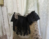 SALE - Small Handmade Purse, earth tones thick velvety chenille fabric bag, black lace embellished with black fringe