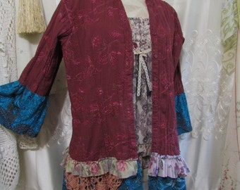 SALE Plum Turquoise Blouse/ upcycled clothes/ refashioned top/ womens top/ cotton recreated button shirt OOAK altered clothing/ LARGE
