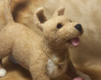 Needle Felted Puppy, tan and white playful pup, dog