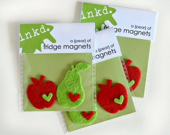 Felt fruit fridge magnets // refrigerator magnets // cute pear and apple magnets // kitchen decor // set of 2