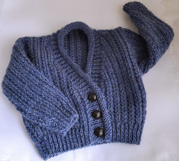 Baby Knitting Pattern Boys Sweater Set - Instant Download PDF - Toddlers Aran...