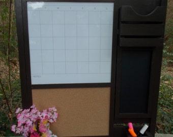 Family Message board---Corkboard Center--Dryerase Magnetic Calendar, Chalkboard