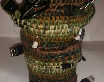 yarn Coiled basket vessel container cords green brown army inspired colors earphones recycle upcycle pencil brush holder office home decor