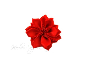 Red Dainty Star Flowers 1-1/2 inch - Red Fabric Flowers, Red Silk Flowers, Red Hair Flowers, Red Flowers for Hair, Red Flowers for Headbands