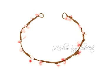 Light Pink Beaded Twig Crown Wreath - DIY Flower Crown, Wedding Flower Crown, Floral Halo, Bridal Crown, Newborn Halo, Wedding Halo