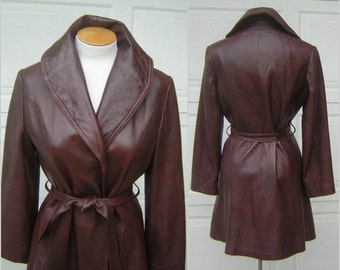 Vintage Leather Coat Trench Style Wrap 60s 70s MOD Dark Brown Oxblood Fine Quality Size 12 Charlie's Leather Portland, OR