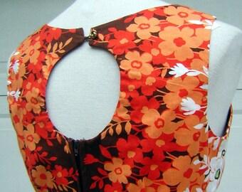 "Orange Sun Dress Floral Print PeekaBoo Keyhole Back Cotton - Vintage 70s Size 14 Bust 38"""