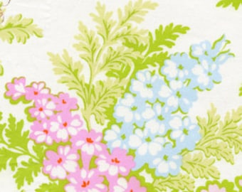 Heather Bailey - Nicey Jane - Picnic Bouquet in Cream - pink blue green large print floral - cotton quilting fabric - choose your cut