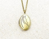 Locket, Antique Gold Horse, Long Chain Necklace, 26 inches, also available in silver