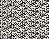Black and Gold Metallic Hearts by Timeless Treasures