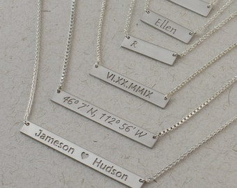 Silver Bar Necklace - Personalized Jewelry. Monogram & Name Necklaces. Gift Ideas for Her. Choose from 4 Deluxe Chain Types