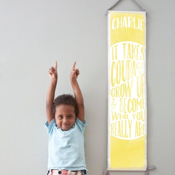 "Custom/ Personalized Yellow ""It takes courage to grow up"" growth chart - Perfect for gender neutral nursery or big girl or boy room"