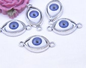 10 Antique Silver Purple Eye Charm Pendants, Antique Eye Connectors, Jewelry Eye cabochon Supplies 28mmx14mm