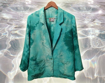 Vintage 80s Pure Silk Men's Jacket Upcycle Tie Dye Boho Avant Garde OOAK size Large