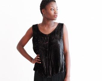 Vintage Black Velvet Sleeveless Blouse