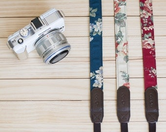 Red , Cream, Blue Floral Vintage Camera Strap for Mirror Less ,Compact