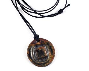 Unisex Necklace Handmade Ceramic Pendant on Adjustable Waxed Cotton Cord Unique Jewellery