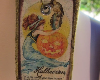 Altered Art Mixed Media Halloween Necklace Z 75