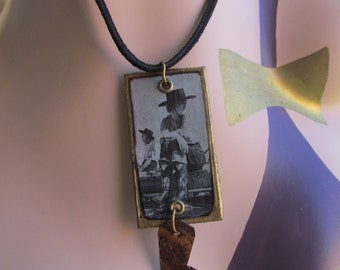 Vintage Cowgirl Necklace Hand cut Boot charm  Z 93