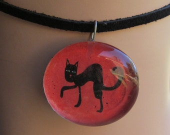 Black Cat Halloween Glass Cabochon Necklace Pendant Z 103