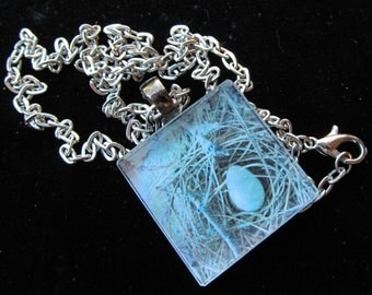 Beautiful Blue Nest Glass Pendant Necklace Z 106