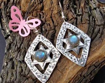Labradorite and Silver Earrings - PMC - Fine Silver Star of David Earrings - Judaic Jewelry