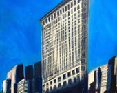 "Flat Iron Building Original ""20x24"" Acrylic Painting on Canvas"