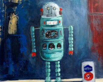 1960's Era Vintage Japanese Eveready Toy Robot Original 16x20 Acrylic Painting on Panel