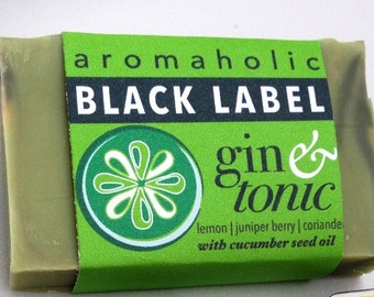 Gin & Tonic Black Label soap - organic juniperberry, coriander, and lemon natural soap - gin and tonic scented handmade soap