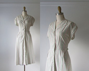 vintage 1940s dress / 40s dress / Great Grids