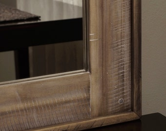 Distressed wood mirror dark brown bathroom rustic by for Long narrow decorative mirrors