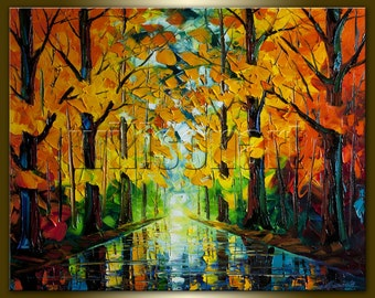 Original Autumn Landscape Textured Palette Knife Painting Oil on Canvas Modern Tree Art Seasons 24X30 by Willson