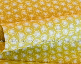 Organic Cotton Fabric, Quilting Weight textile, Morn's Rays Citron from Cloud9 By Michelle Engel Bencsko