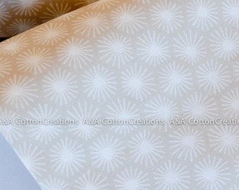 Organic Cotton Fabric, Quilting Weight textile, Morn's Rays Ecru from Cloud9 By Michelle Engel Bencsko