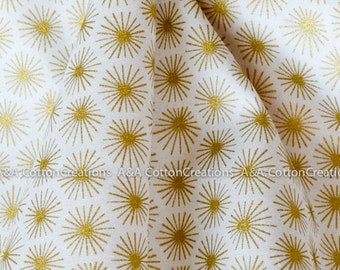 Organic Cotton Fabric, Quilting Weight textile, Morn's Rays Gold from Cloud9 By Michelle Engel Bencsko, Metallic Gold Print