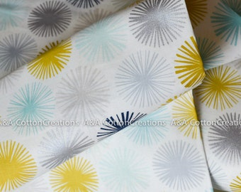 Organic Cotton Fabric,Quilting Weight, Millefleur Turquoise from Cloud9, Michelle Engel Bencsko, Metallic Silver Print