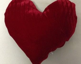 Big Red Velvet Love Heart Pillow