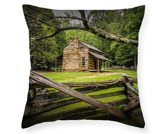 Appalachian Mountain Oliver Cabin in Cade's Cove in the Smoky Mountains No.FF670461 novelty throw pillow Home Décor cushion cover