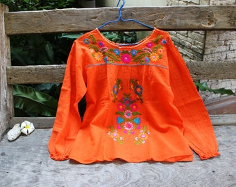 L-XL Long Sleeves Bohemian Embroidered Top - Orange