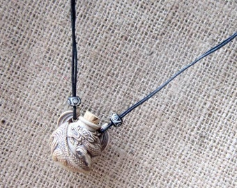 3D Dragon High Fired Ceramic Bottle Cord Necklace - ampulla ampullae