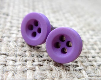 8mm purple button stud earrings - hypoallergenic posts studs anti allergy