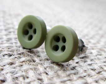 8mm olive green button stud earrings - hypoallergenic posts studs anti allergy