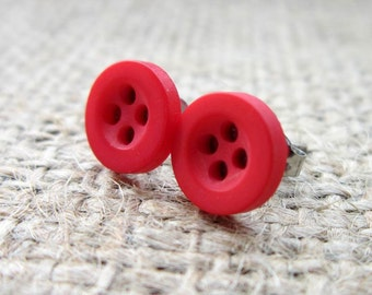 8mm red button stud earrings - hypoallergenic posts studs anti allergy