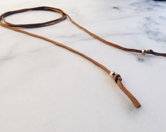 Leather Wrap Necklace/ Choker Wrap/ Small Gold Necklace/Wrap Necklace/ Gift for Her/ Leather wrap/ Gray necklace