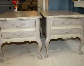 Attractive Shabby Chic End Tables Pair Painted End Tables Light Beige Coco French  Provincial Solid Wood Distressed